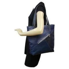 Bolsa sacola azul feminina em couro marte