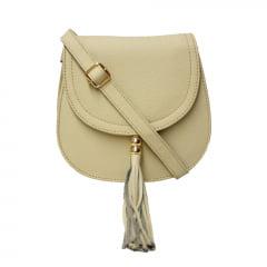 bolsa de couro pequena bege