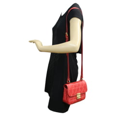 Bolsa transversal matelassê vermelho em couro Lyra