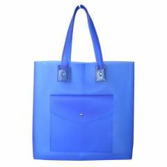 Bolsa de praia azul com bolso