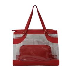 Bolsa de praia vermelha e transparente Kabira