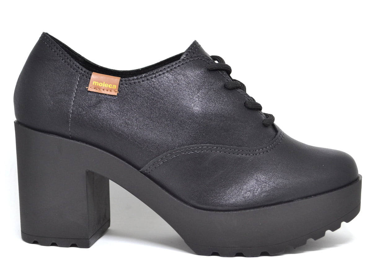 Sapato Feminino Oxford Tratorado Salto Grosso Moleca 5647 preto