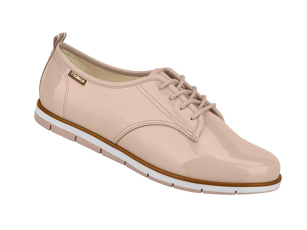 Sapato Tênis Casual Oxford Verniz Feminino Moleca 5613 rosa