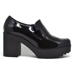 Sapato Feminino Oxford Verniz Salto Tratorado Moleca 5647101