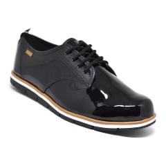 Sapato Tênis Casual Oxford Verniz Feminino Moleca 5613 preto
