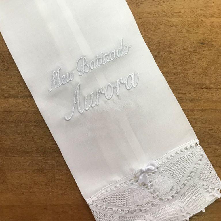Toalha Batizado Personalizada Renda Renascença - Nome (grande)