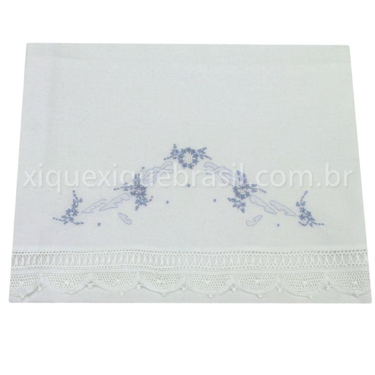 Cueiro Renda Renascença Floral Azul