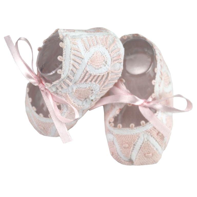 Sapatinho bebê Renda Renascença rosa e branco
