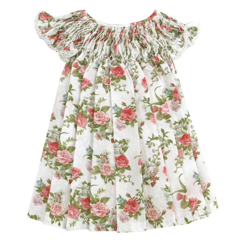 Vestido Casinha de Abelha Off White Floral (12 e 24 meses)