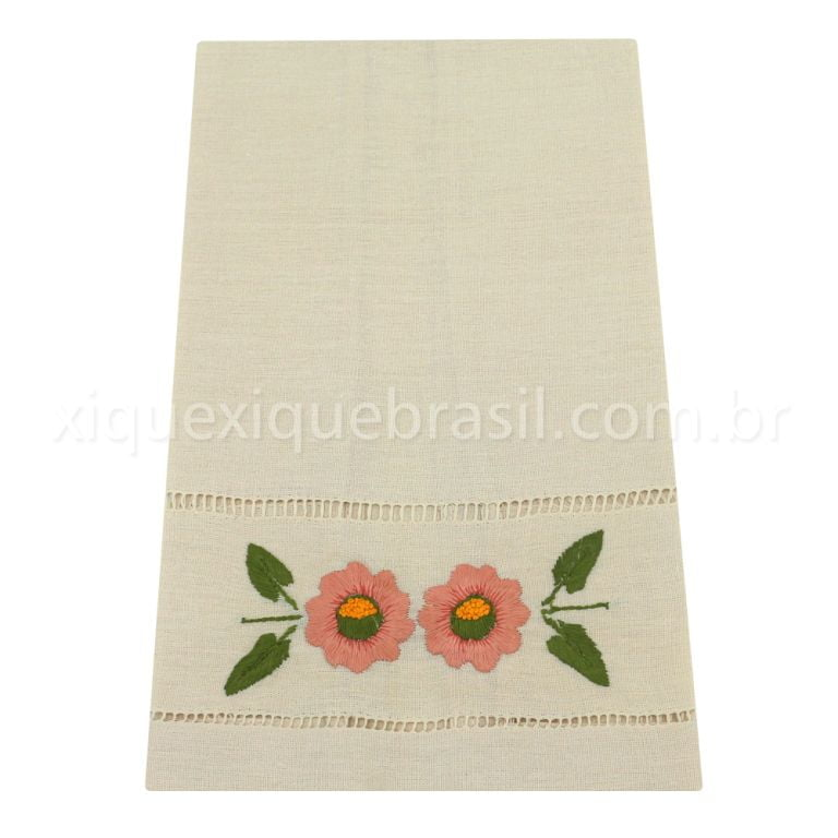 Toalha Bordado Manual Bege Flores Rosa