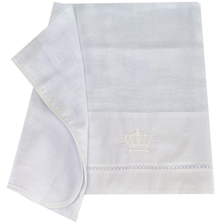 Fralda Bordada Coroa Real Branca