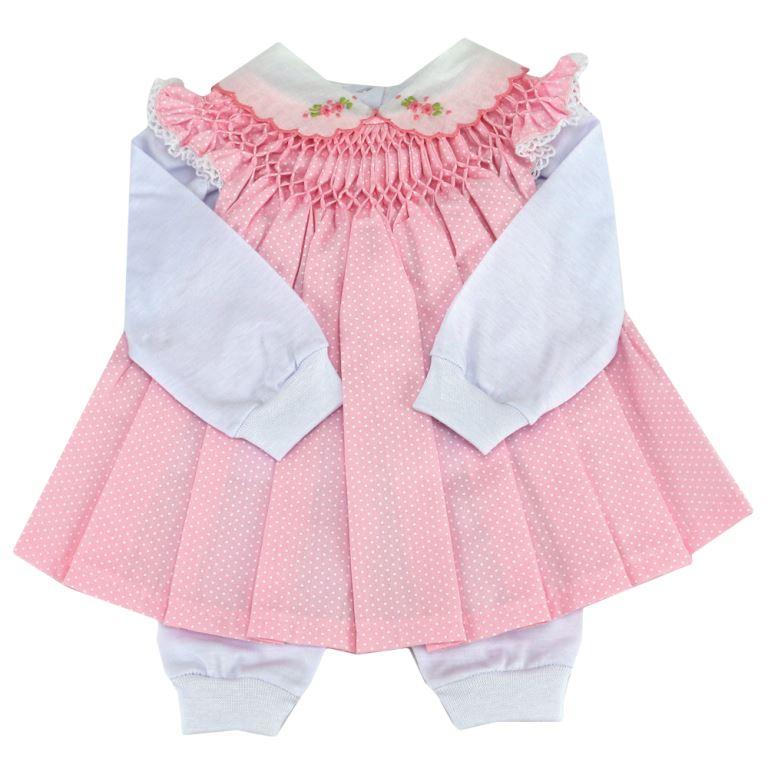 Vestido casinha de abelha com pagão poá rosa - 0 a 3 meses
