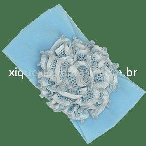 Tiara Faixa de Cabeça Renascença Flor Azul e Branca