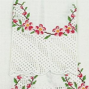 Toalha Lavabo Crivo Flor Pink
