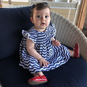 Vestido Casinha de Abelha Chevron Marinho - 18 meses