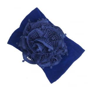 Tiara Faixa de Cabeça Renda Renascença Flor Azul Royal