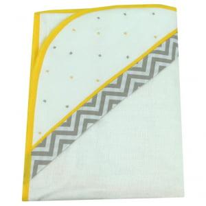 Toalha de banho com capuz Chevron Cinza e Amarelo