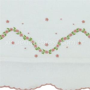 Cueiro Fustão Floral Rosa