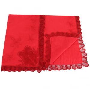 Manta Renda Renascença cambraia algodão iv vermelha