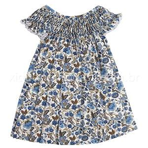 Vestido Casinha de Abelha Floral Azul (12 meses)