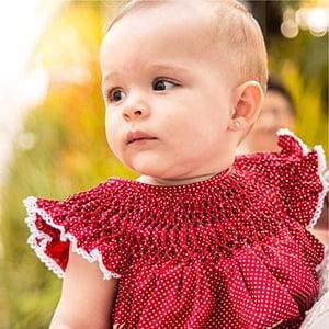 Vestido Casinha de Abelha Poá Vermelho - 9 a 12 meses