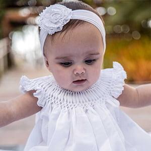 Vestido Casinha de Abelha Renda Renascença (6, 12, 18 e 24 meses)