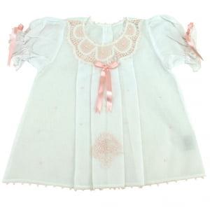 Vestido e calcinha Renda Renascença rosa - 0 a 3 meses