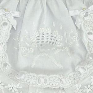 Calcinha bordado manual guirlanda branco/branco