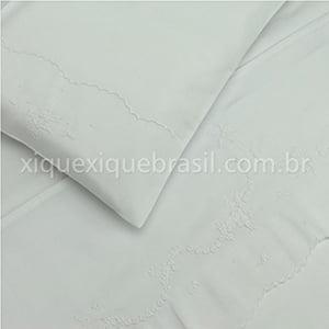 Jogo Lençol Berço Bordado Fustão Floral Branco