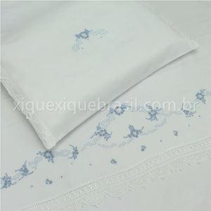 Jogo Lençol Renda Renascença Berço Americano Floral Azul (2 peças)