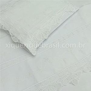 Jogo Lençol Renda Renascença Berço Americano Floral Branco (2 peças)