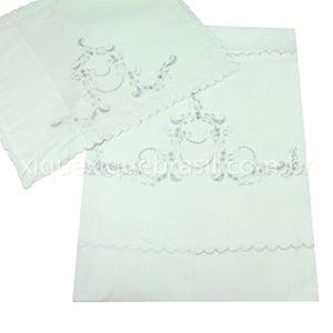 Jogo Lençol para Berço Bordado Richelieu Floral Branco (2 peças)