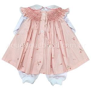 Vestido Casinha de Abelha com Pagão Floral Poá Rosê - 0 a 3 meses