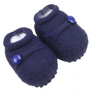 Sapatinho Bebê Tricô Azul Marinho Botão
