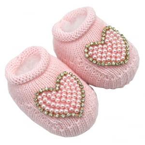 Sapatinho Bebê Tricô Rosa Coração
