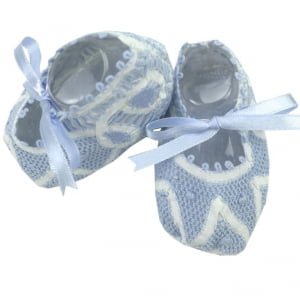 Sapatinho bebê Renda Renascença azul e branco