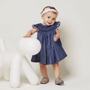 Vestido Casinha de Abelha Jeans Bordado Rococó Bico Branco (12 meses)