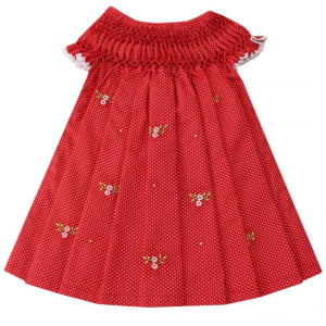 Vestido Casinha de Abelha Poá Vermelho (12 meses)