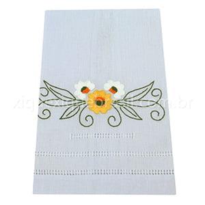 Toalha Bordado Manual Flores Amarelo e Branco