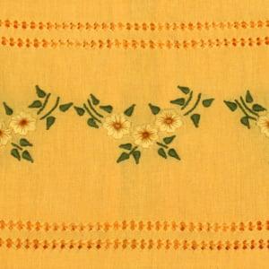 Toalha de Mão Bordado Manual Amarela Flores Amarelas