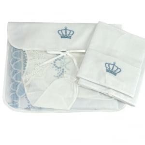 Saco Maternidade Piquê Coroa Azul - 3 unid.