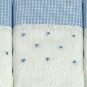 Fralda bordada poá azul coleção (3 unid.)