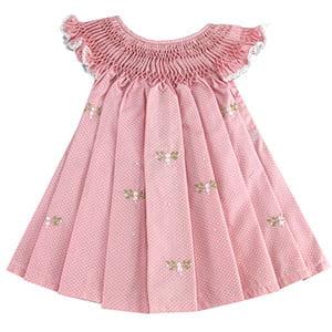 Vestido casinha de abelha poá rosa flor (12 meses)