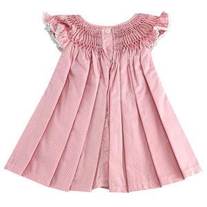 Vestido casinha de abelha poá rosa flor - 9 a 12 meses