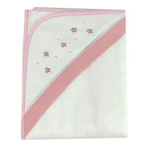 Toalha de banho com capuz duo floral rosa