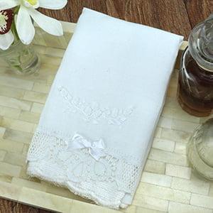 Toalha Renda Renascença bordada rococó flor branco/branco (pequena)