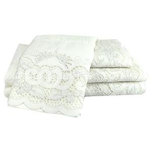 Toalha richelieu conjunto banho branca margarida (5 peças)