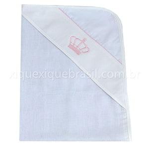 Toalha de Banho Fralda com Capuz Coroa Rosa