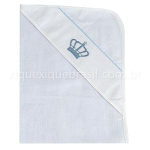 Toalha de Banho Fralda com Capuz Coroa Azul