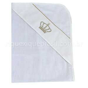 Toalha de Banho Fralda com Capuz Coroa Bege
